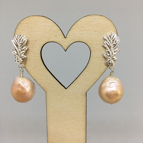 Acorn Leaf Earrings with baroque pearl drop