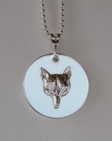 Fox Mask Disc Pendant