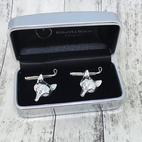 Silver Fox and Whip Cufflinks