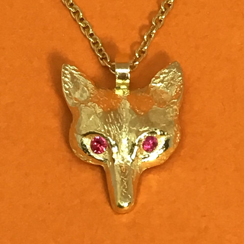 Gold Fox Pendant with Ruby Eyes
