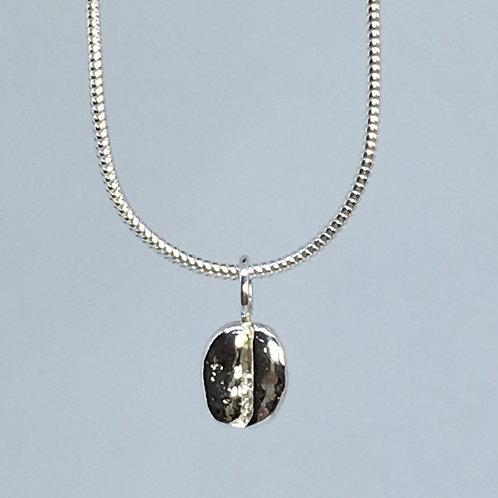 Silver coffee bean pendant