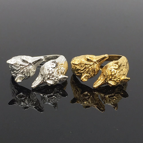Double Fox Mask Ring