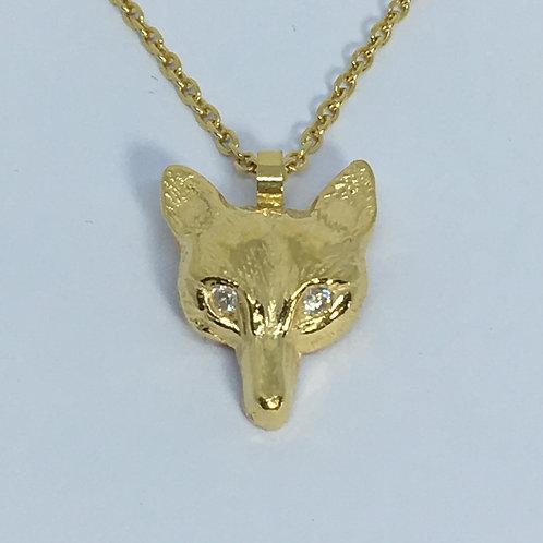 Gold Fox Pendant with Diamond Diamanté Eyes