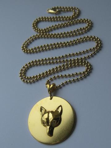 Fox Mask Disc Pendant - 22 ct yellow gold plate - 31in