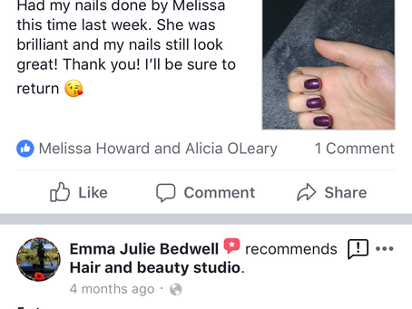 A fab review for our new beauty therapist Melissa 😊 Treat your self to our £15 gel nail deal!