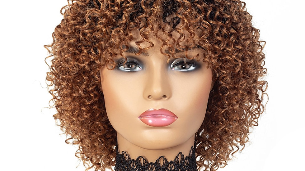 gs for Black Women  Human Hair Wigs With Bangs Machine Made Full Wig Ombre Color
