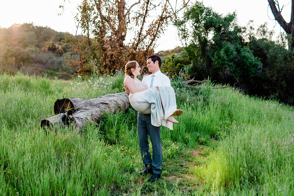 corona California engagement session carrying fiancé