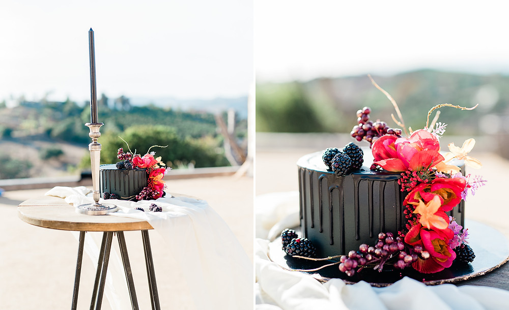 Edgy black wedding cakes with red flowers