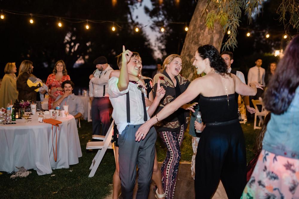 wedding reception parting and having fun