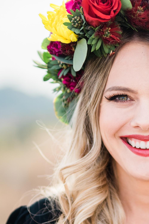 flower crown portrait of bride in Temecula California