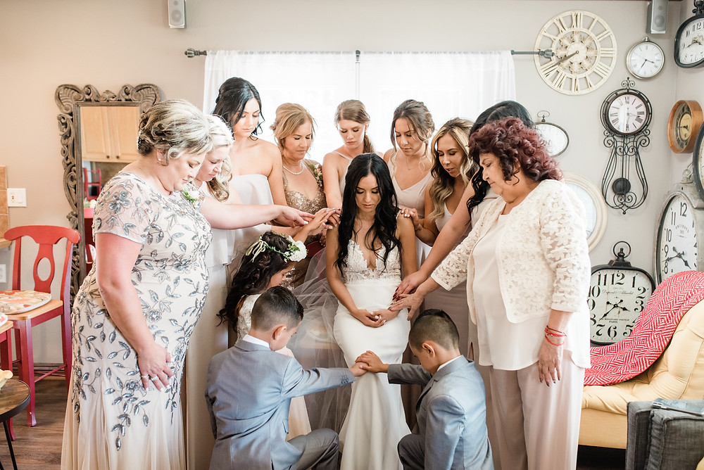 pray over the bride before the ceremony - serendipity gardens