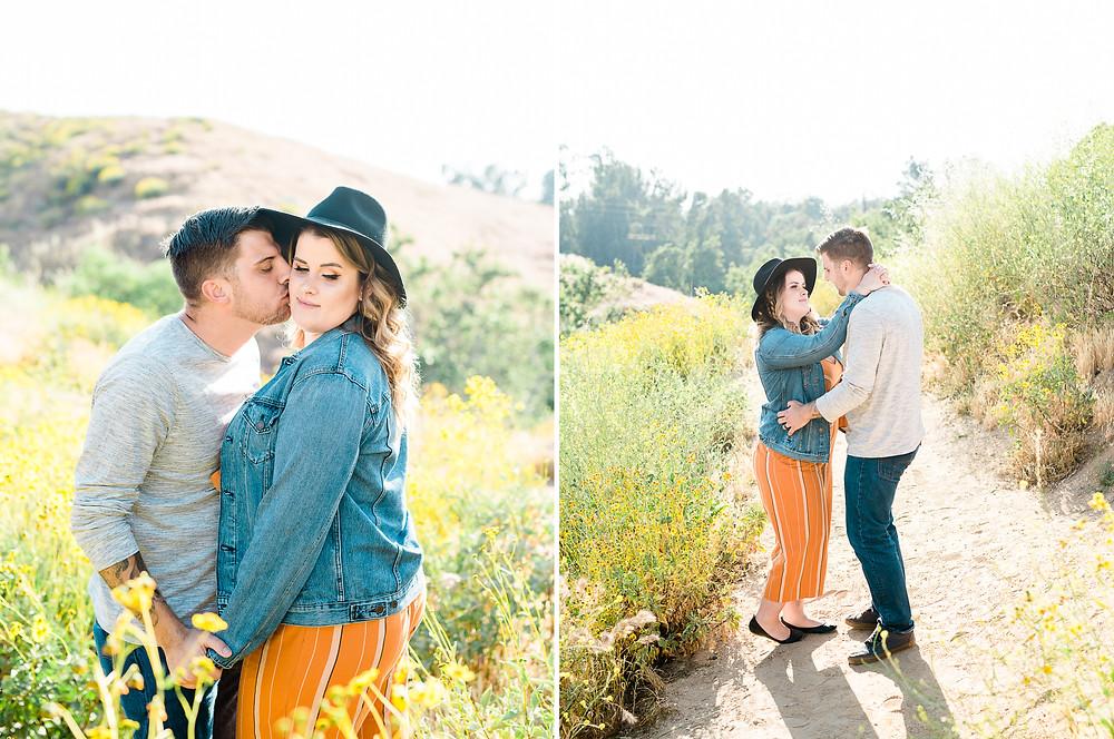jean jacket couple session, women's orange jumper, engagement session riverside, flower field photo session
