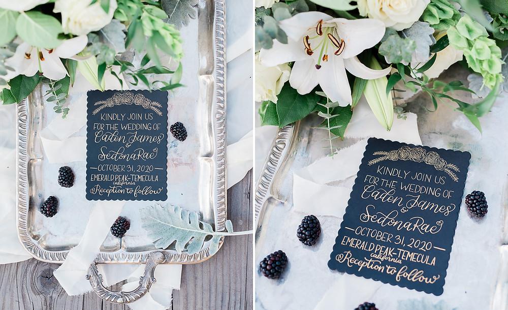 hand written black wedding invitations