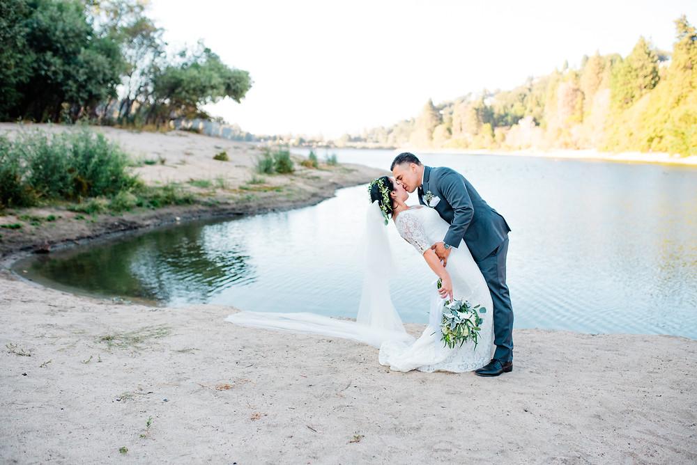 adventure bride marries groom in Lake Gregory California
