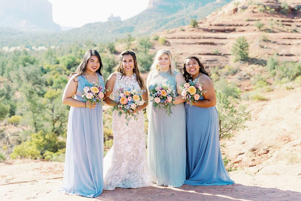 bridal party in blue dress Sedona Arizona