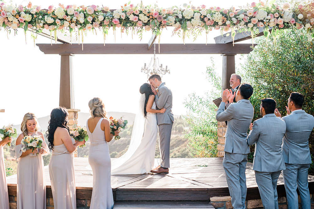 First Kiss Serendipity Garden Wedding Photography, Oak Glen Ca