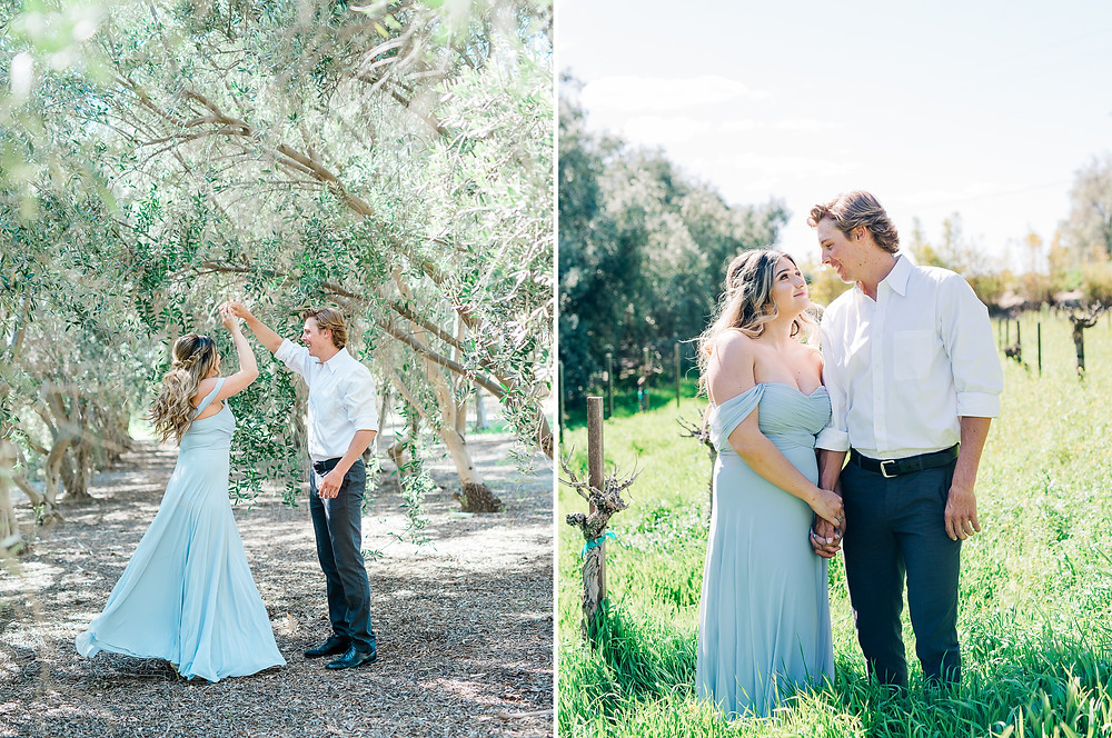 engagement photos in Olive trees with blue dress twirl
