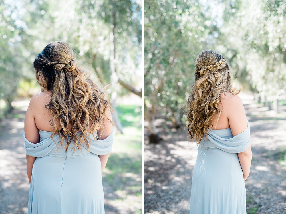 pretty bridal  curly hair with blue dress hanging off her shoulder
