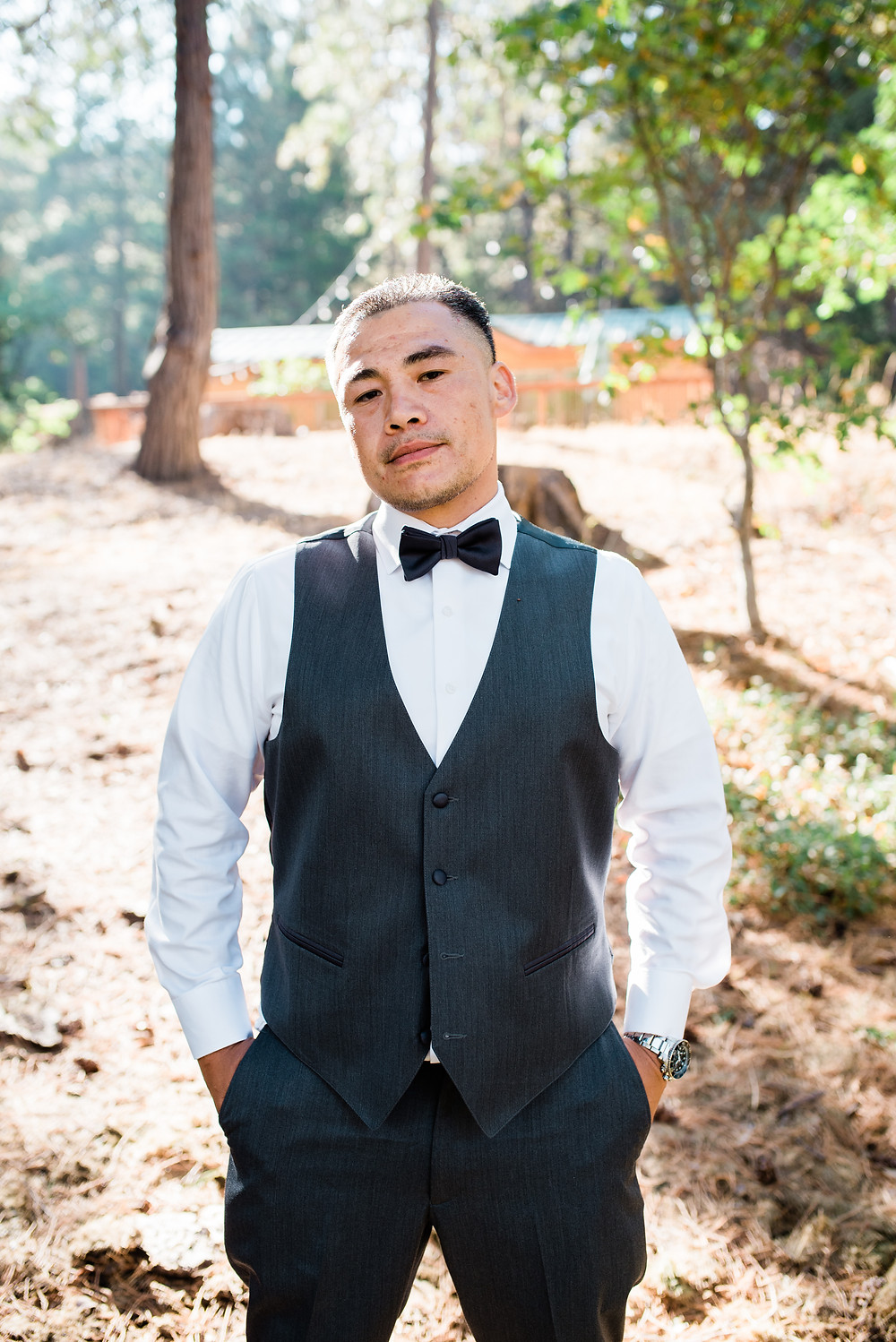 groom portrait in California forest