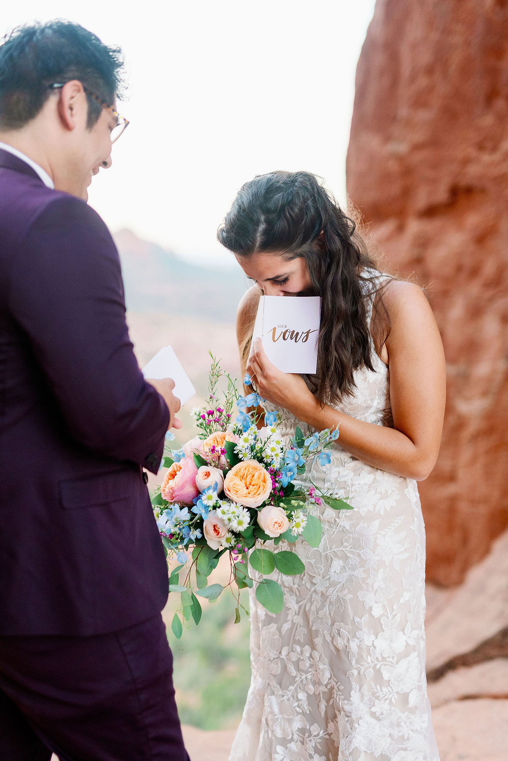 Sedona elopement on cathedral rock at sunrise
