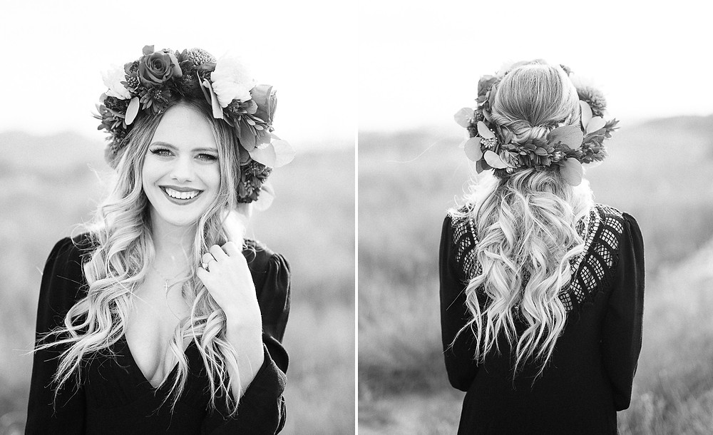 bride with flower crown in Temecula california