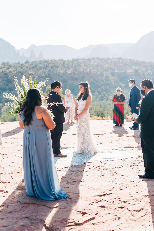 Sedona wedding ceremony at sunrise due to covid