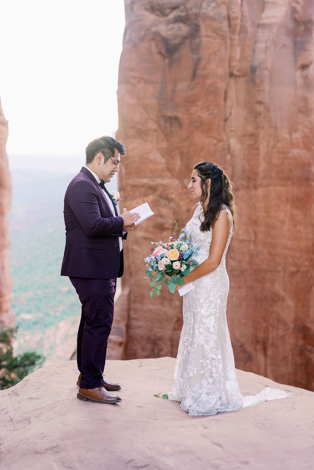 Sedona elopement ceremony on cathedral rock at sunrise