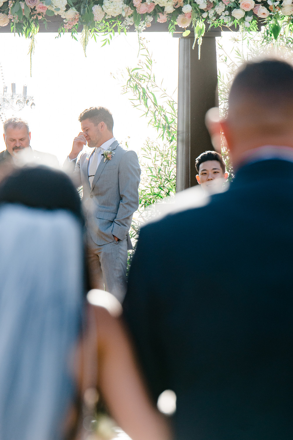 crying groom - serendipity gardens wedding