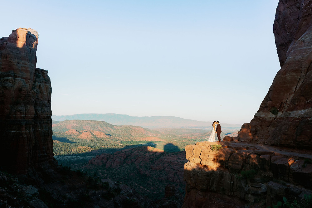 cathedral rock wedding elopement at sunrise