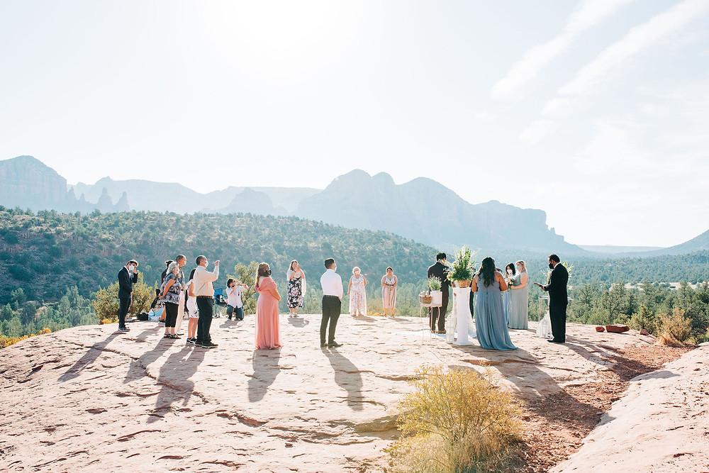 small Sedona wedding ceremony at sunrise