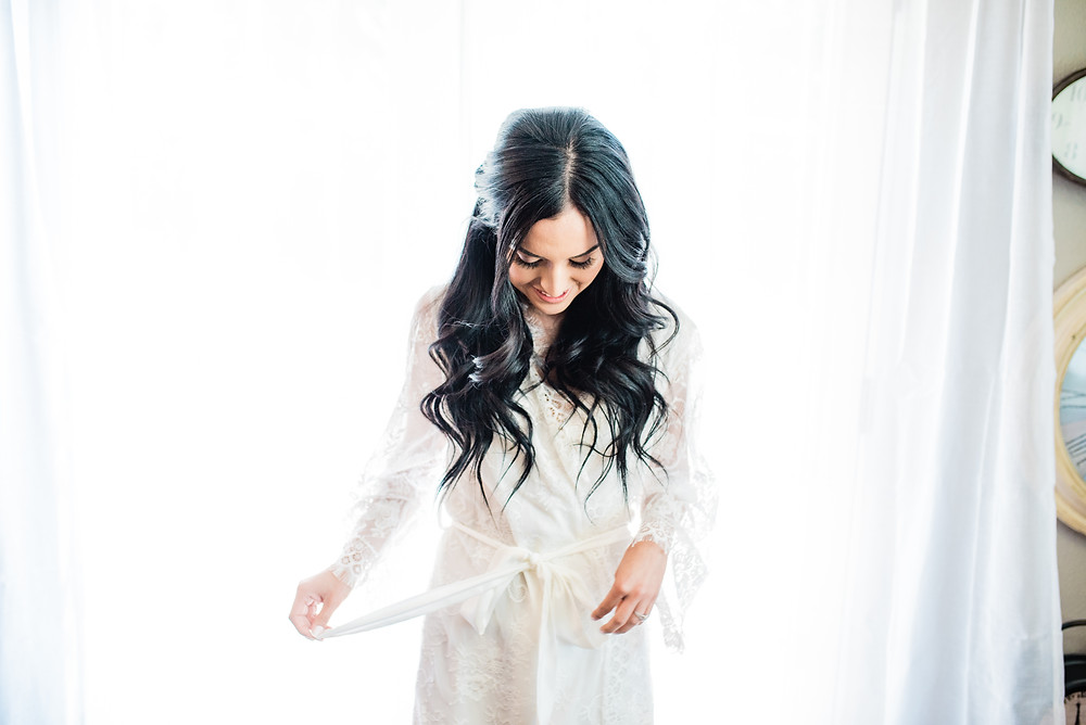 bride in bridal robe