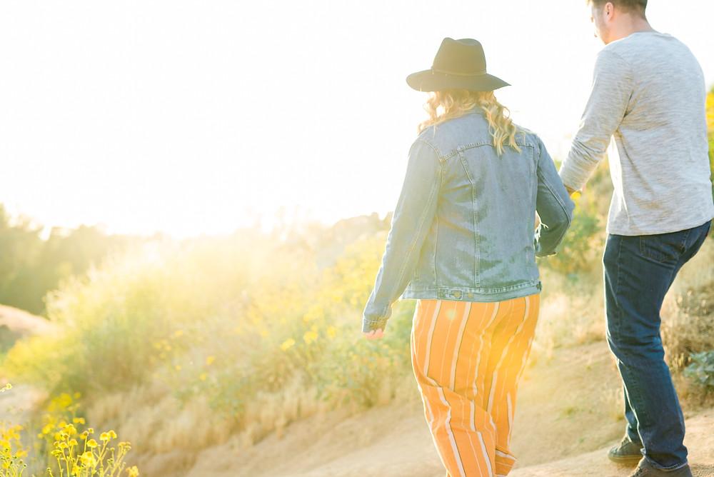 jean jacket photoshoot, flower field photoshoot, engagement session, riverside photoshoot