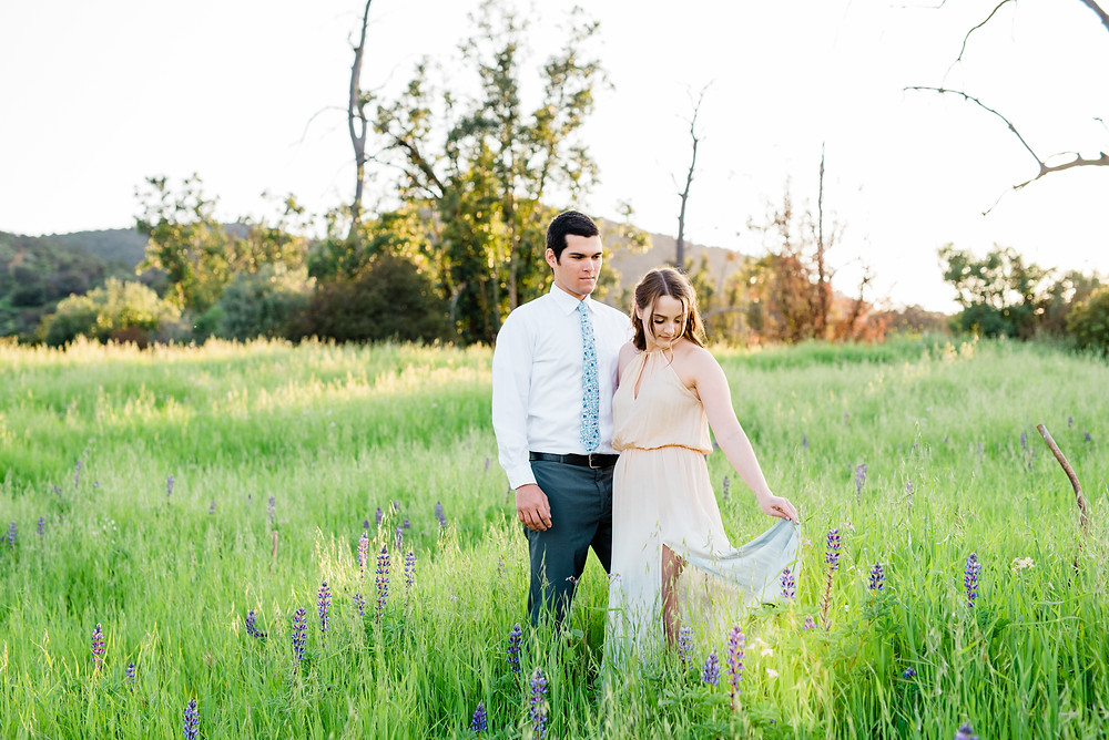 corona California grassy field engagement session
