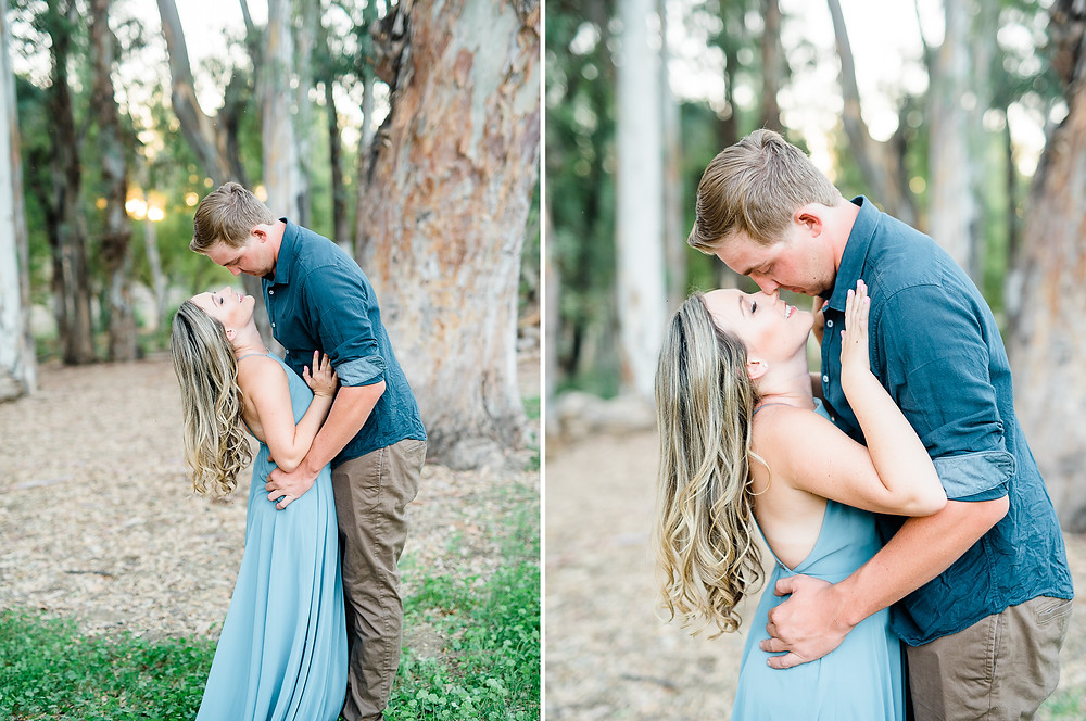 romantic couple photography in Murrieta forest.