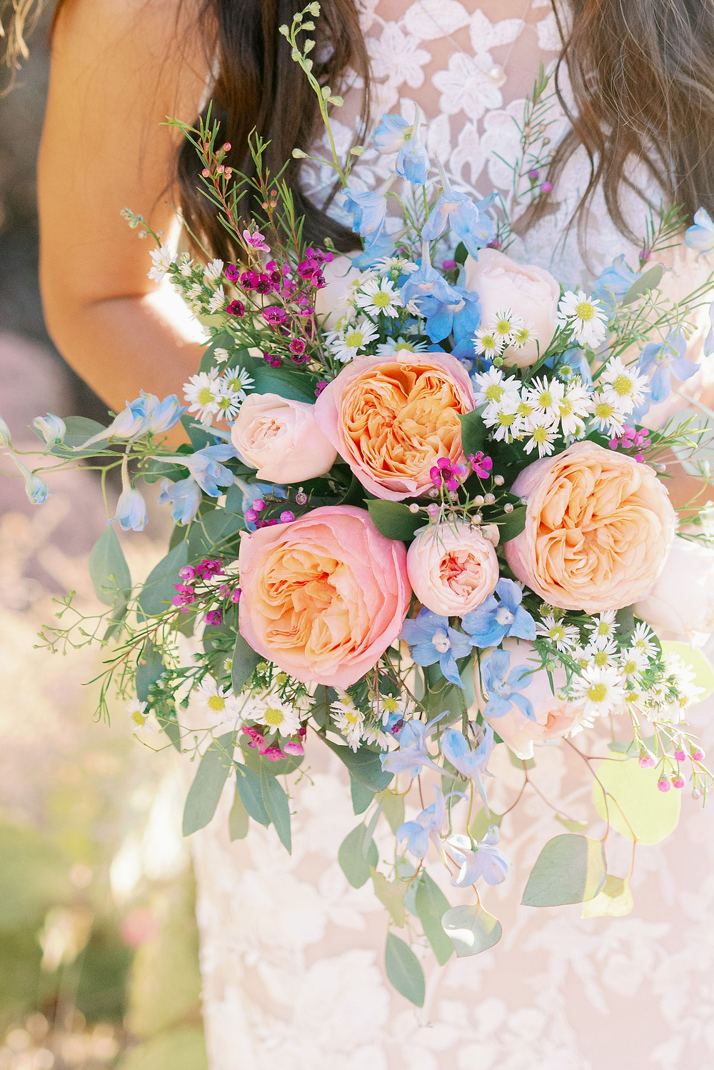 pink and blue bridal bouquet for sedona elopement