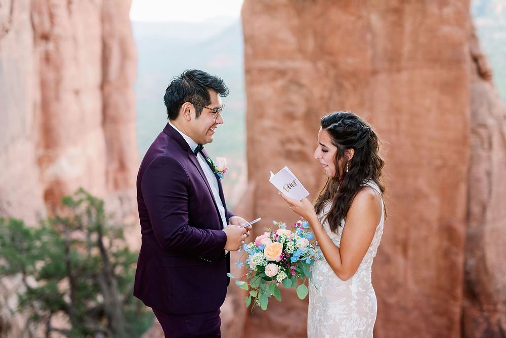 bride reading vows sedona arizona