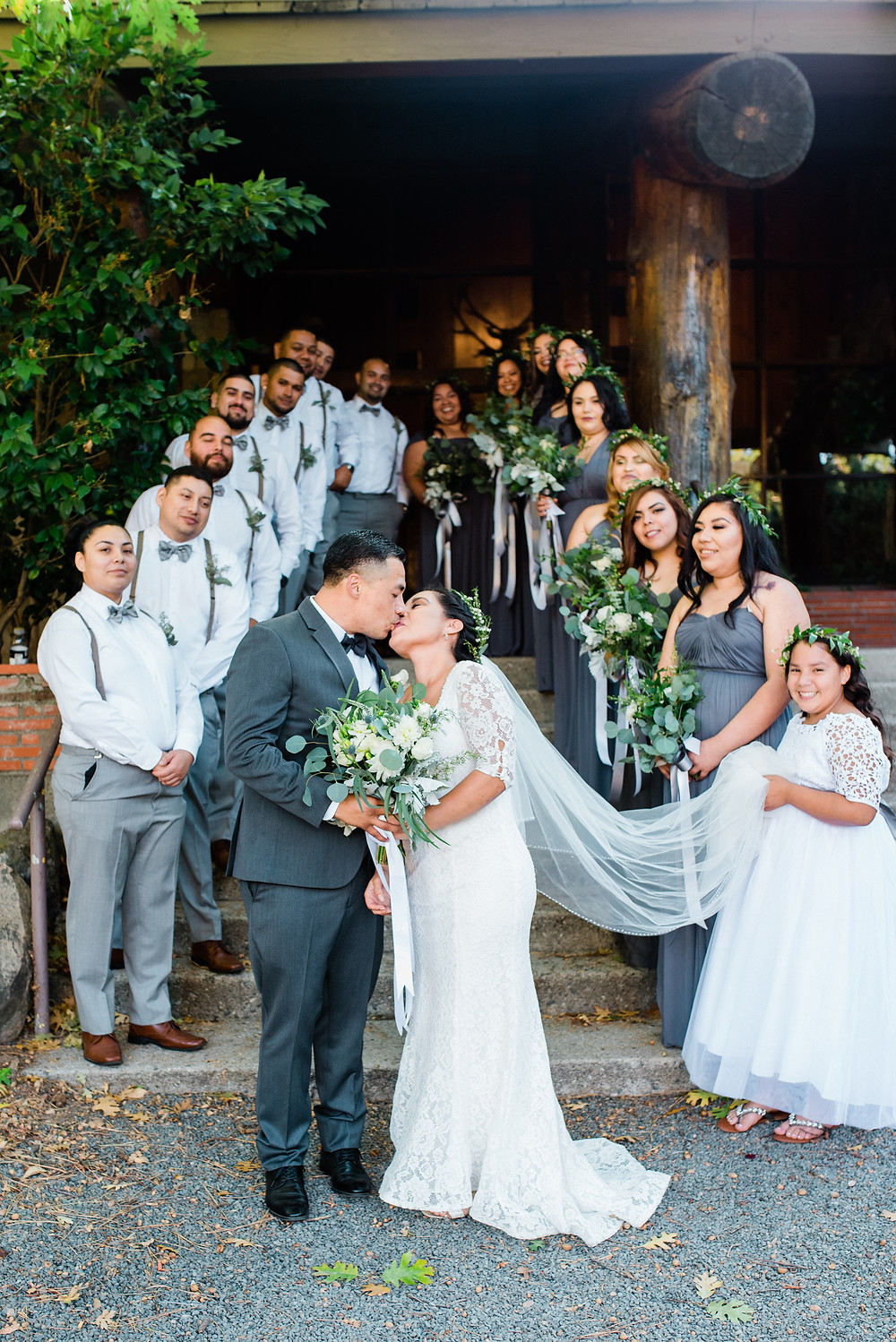 large bridal party portrait in the mountains of southern California