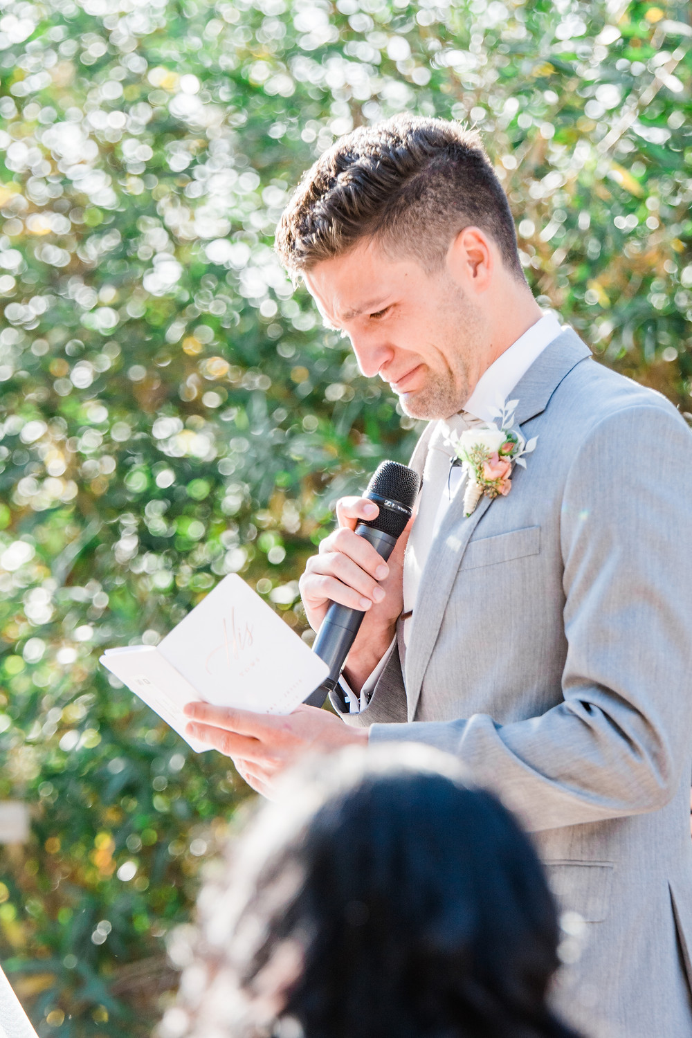 crying groom reading vows - oak glen wedding