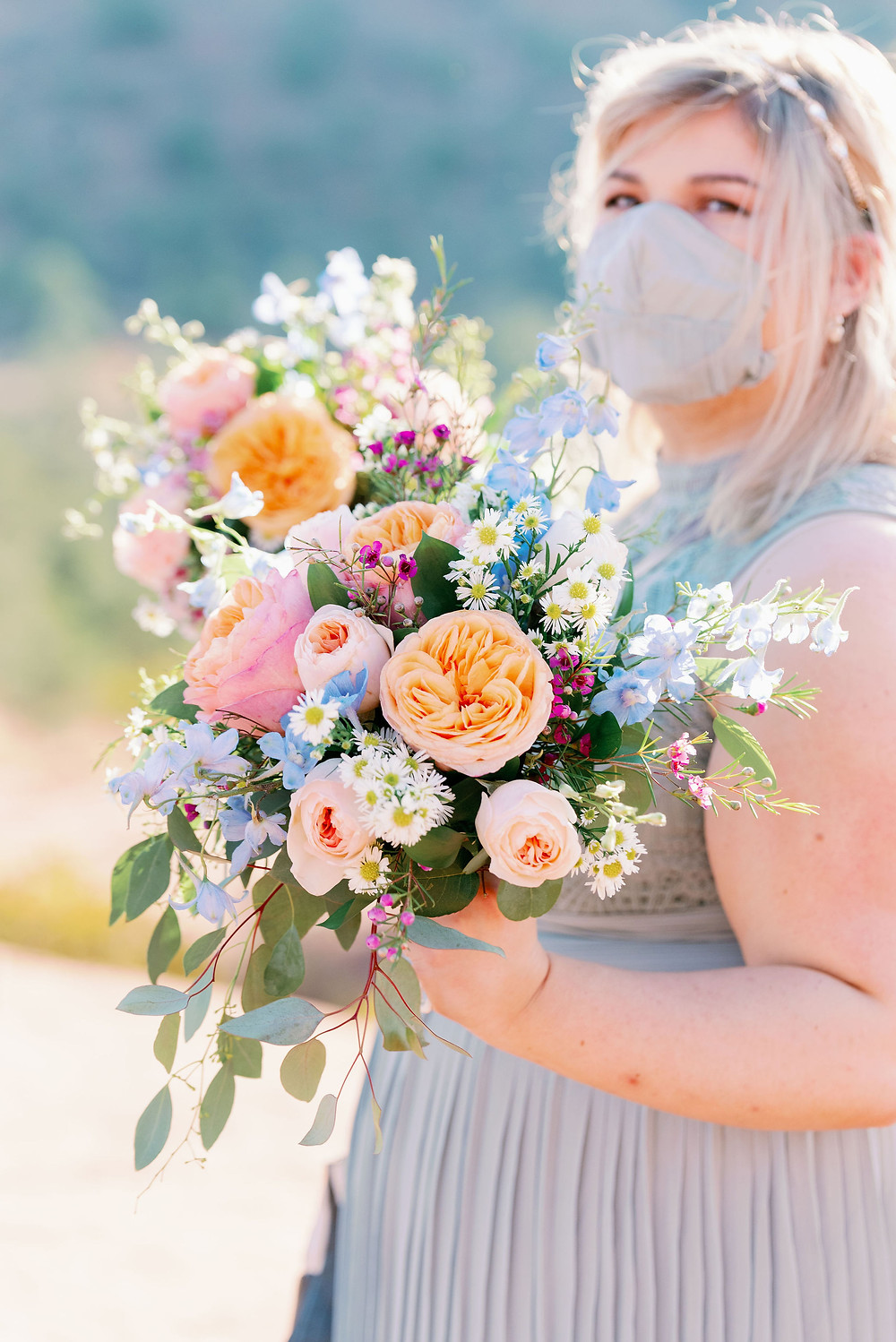 blue and pink wedding bouquet in sedona