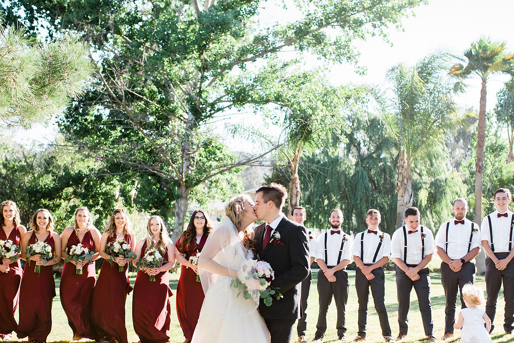 full bridal party red and grey color scheme