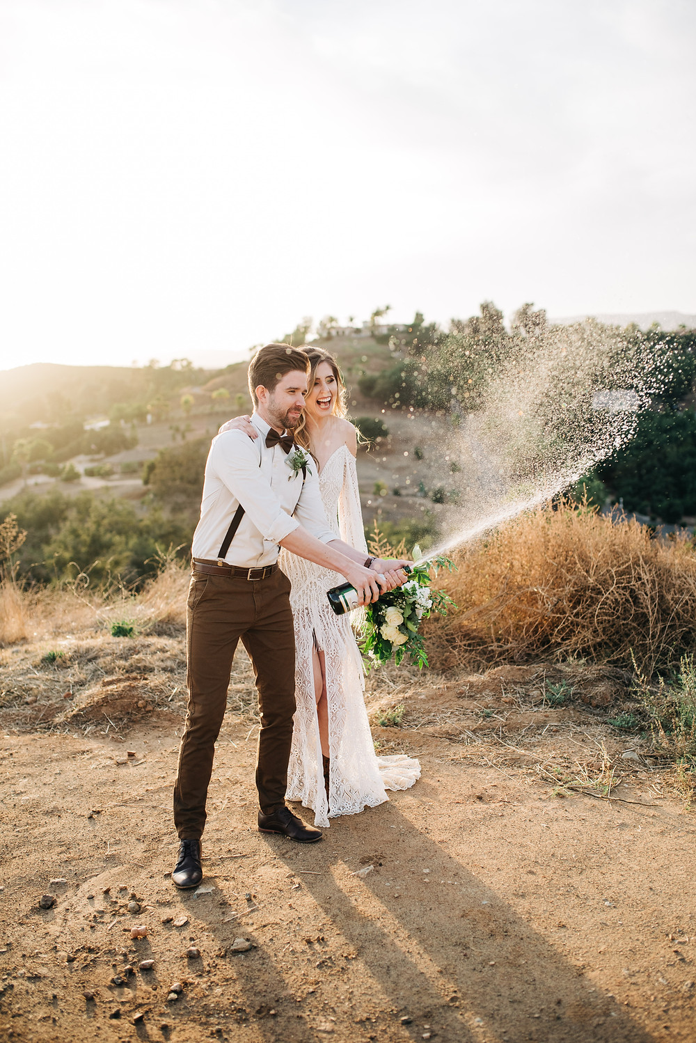 Boho Temecula wedding photography pop champagne