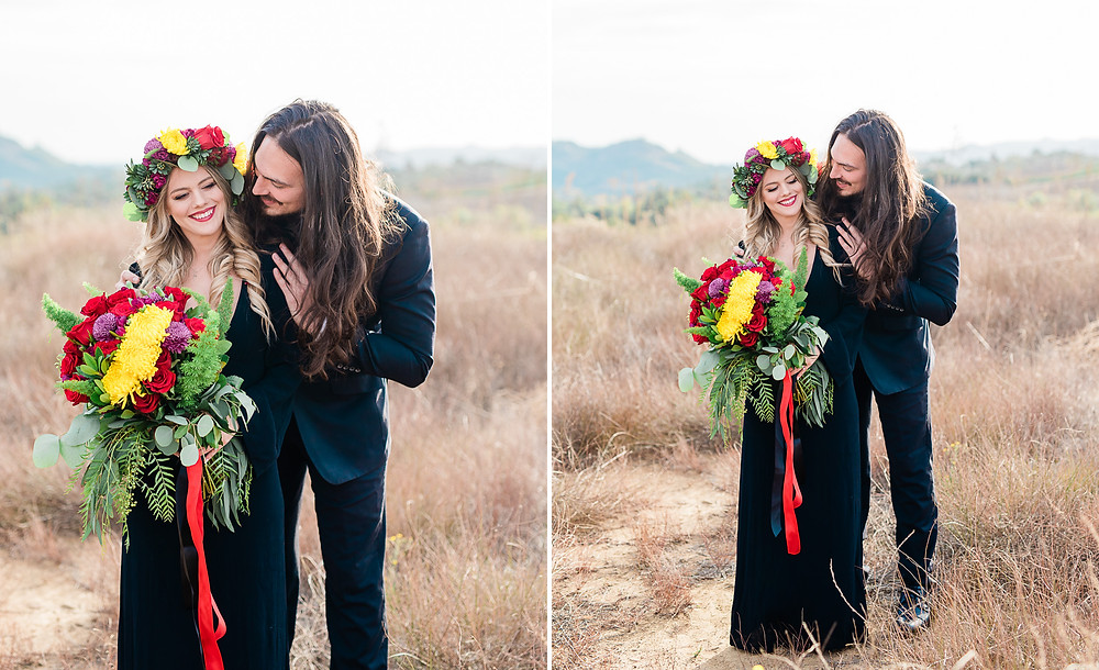 Edgy bride and groom in all black Temecula california