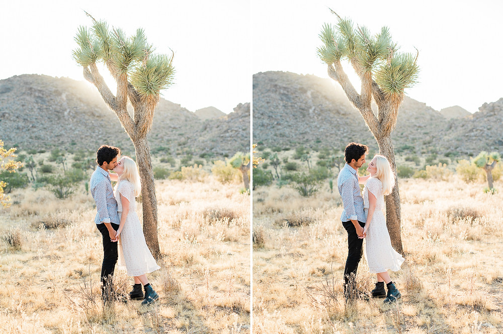 golden hour in joshua tree with hipster couple