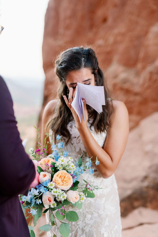 emotional bride reads vows arizona