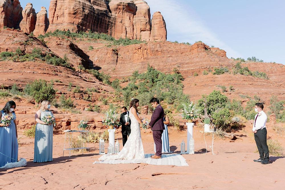 Sedona wedding ceremony at sunrise at cathedral rock