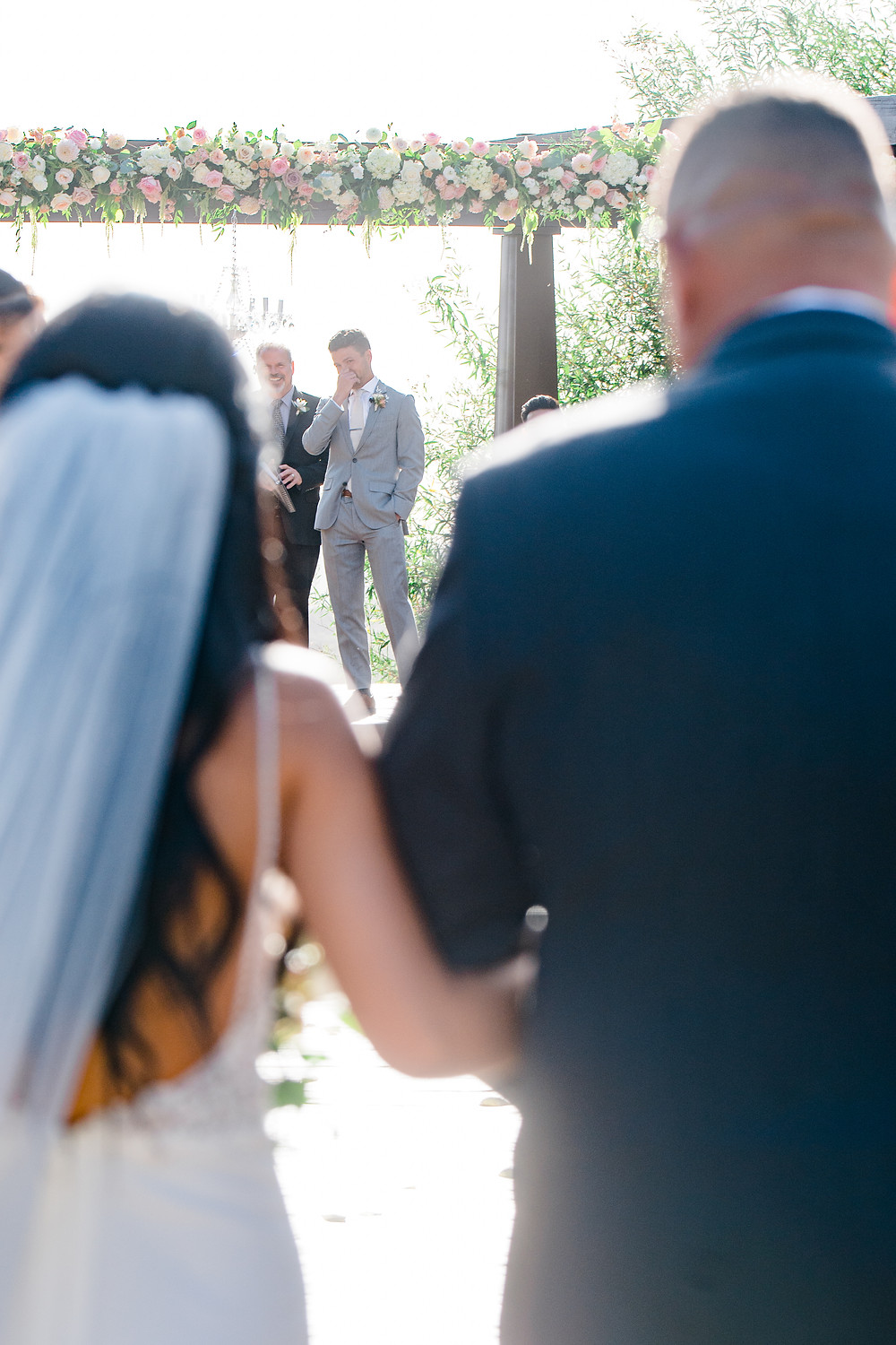 emotional groom at ceremony - serendipity gardens wedding