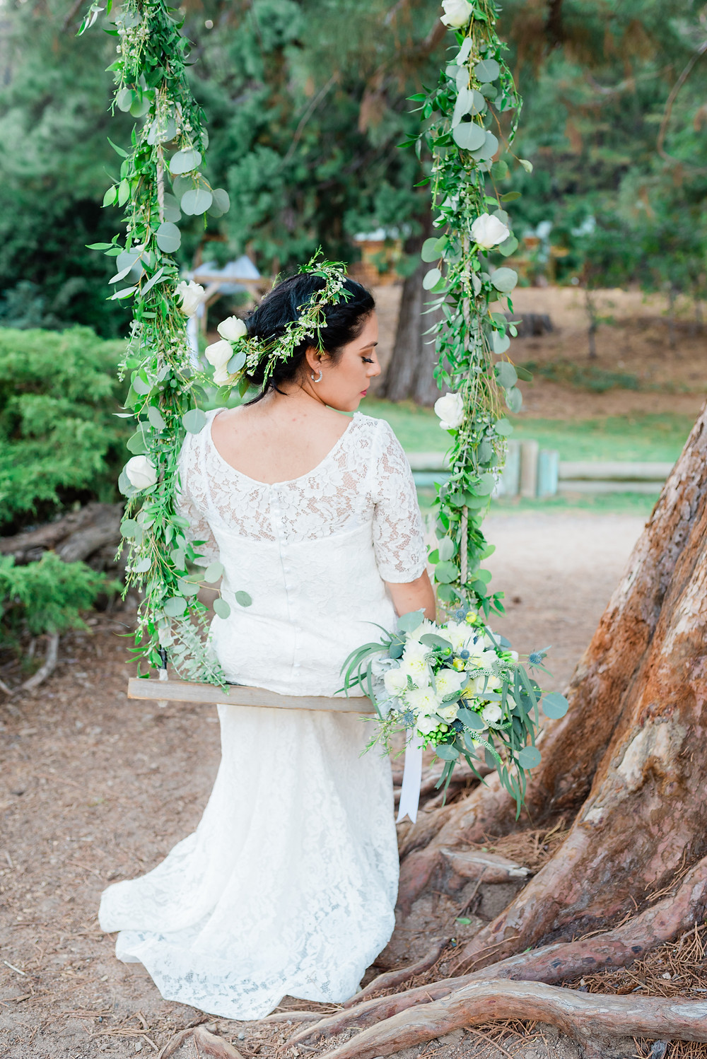 wedding swing with bride in lake Gregory California