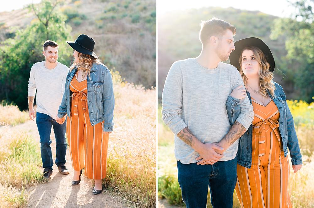 jean jacket couple session, women's orange jumper, engagement session riverside