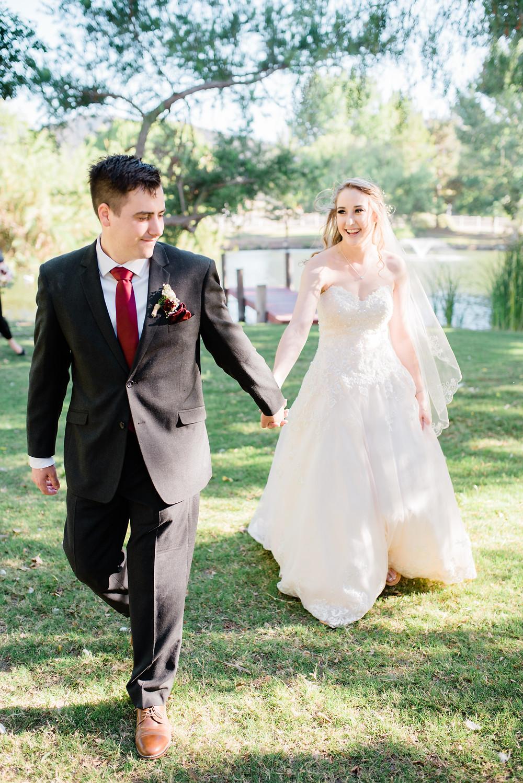 groom leading his new bride