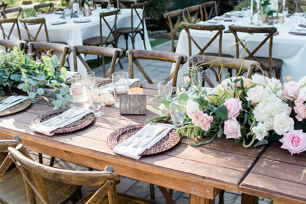 Serendipity Gardens Oak Glen Inland Empire Wedding Venue Table Details